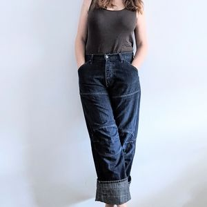Vintage Unisex Raw Dark Wash Jeans